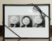 set of 5 or 10 5x7 blank photo note cards, boxed, real-file children as smileys, emoticons