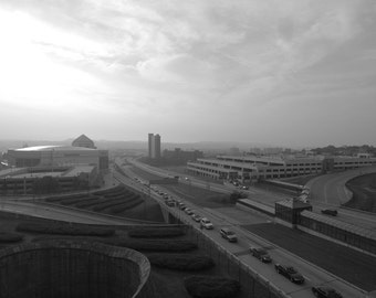Albany - black and white photograph up to 13x19 - urban landscape, highways, postapocalyptic mood