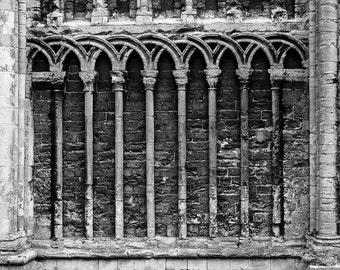 St. Margaret's Church, exterior (detail) - black and white architectural print up to 13x19 - church column detail