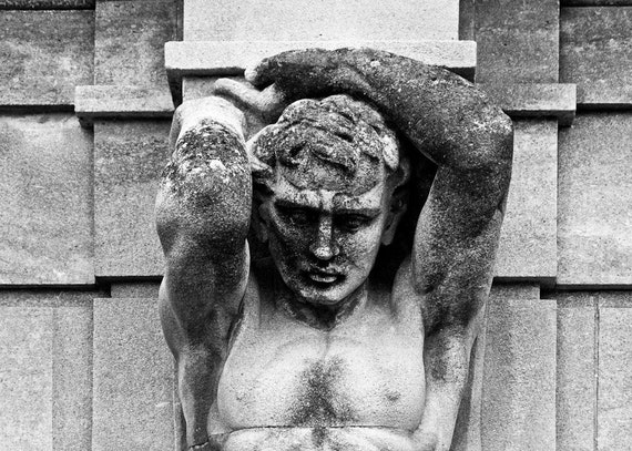 The Weight of Water - 5x7 to 12x17 black and white print - architectural photography sculpture detail classical neoclassical strength