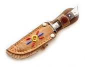 Bowie Knife with Beaded Leather Sheath