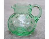 Antique Green Vaseline Glass Pitcher
