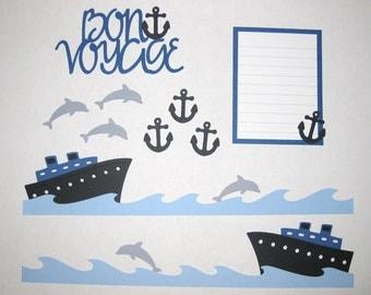 CRUISE Bon Voyage  Scrapbook Border Set, Page Layout / Die Cuts - Premade 12X12