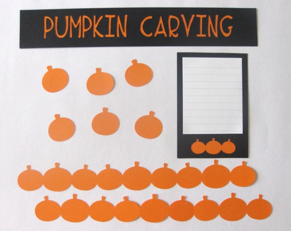 PUMPKIN CARVING HALLOWEEN Scrapbook Border Set, Page Layout / Die Cuts - Premade