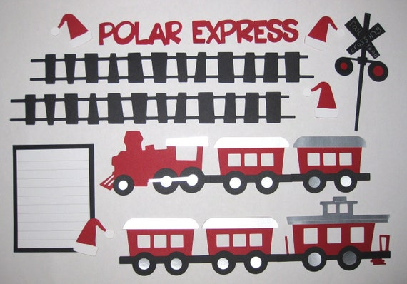 POLAR EXPRESS Red Premade Scrapbook Border Set / Page Layout 12x12
