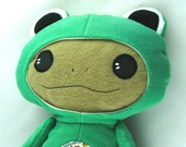 Crazy Frog - Cute Baby in Green Disguise. Cute and funny plush toy for boys and girls. Soft, hypoallergenic plushie for animal lover