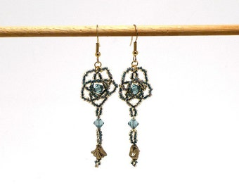 Blue and Gold Seed Bead Flower Earrings
