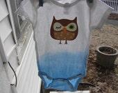Gradient Blue Owl Onesie