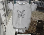 White Onesie with Black Rhinestone Butterfly