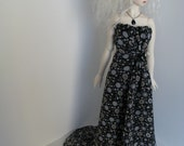 OOAK Strapless chiffon gown for SD13 BJD in black and grey floral print
