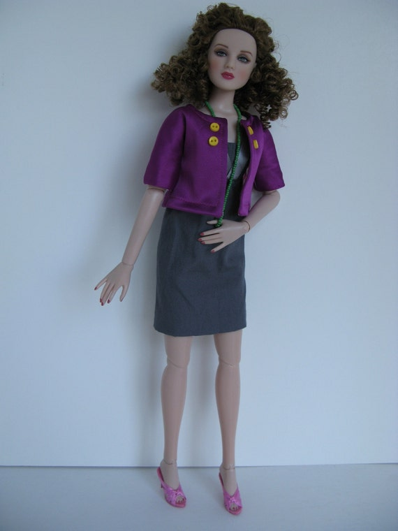 OOAK Grey dress and purple satin jacket for 16 inch fashion dolls