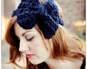 Large Bow Headband in Navy