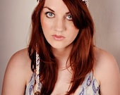 The Feather Headdress in Lavender, Cream and Yellow Cotton
