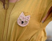 Pretty Kitty Brooch in Khaki Cotton
