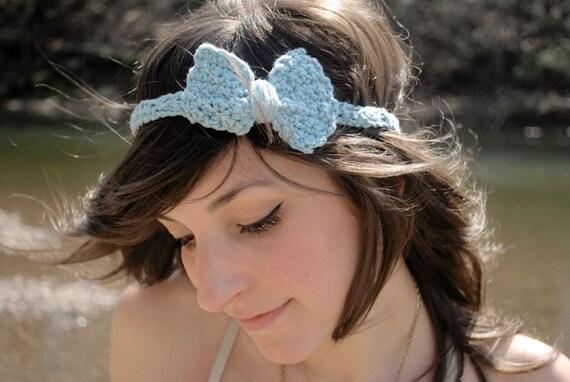 The Mini Bow Headband in Robins Egg Blue Cotton