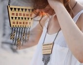 Wooden Tribal Necklace Geometric and Chain Fringe