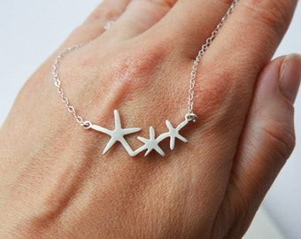 Sea Necklace,Starfish,The Ocean,Starfish Necklace,Silver Necklace,Sterling Silver,Minimal Necklace,Bridesmaid Gift