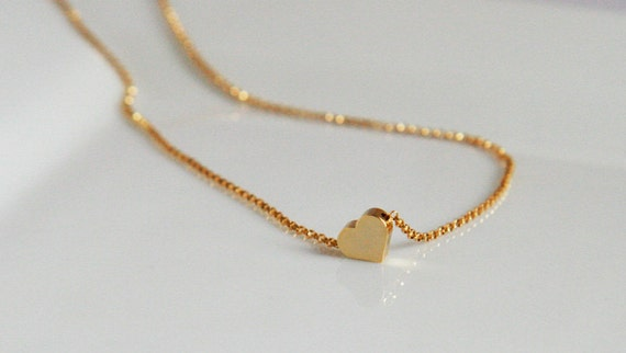 ON SALE Gold Necklace,Tiny Heart Necklace,Dainty Jewelry,Bride Jewelry,Simple Everyday Jewelry,Layering Necklace