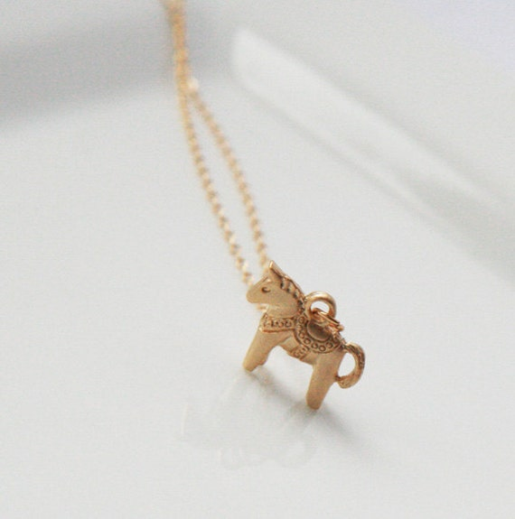 Horse Necklace,Gold Necklace,Dainty Gold Necklace, Delicate Gold Necklace