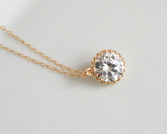 Cute Necklace - Crystal Drop , Gold Filled Chain, Gold Necklace - Delicate, Pretty, Cute, (Great Gift)