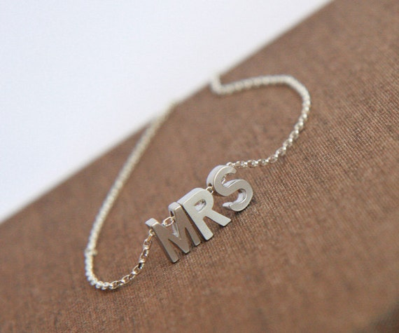 Bridal Shower Necklace,Letters,Mrs,Sterling Silver Chain,Bride Necklace,Wedding Necklace,Silver Necklace,Hen Party Gift