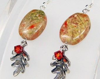 Toasted Autumn Leaf Earrings - Silver Pewter Oak Leaves and Swarovski Crystals with Autumn Jasper Gemstones