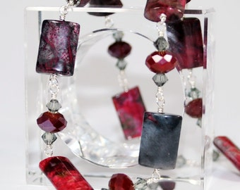 Exotic Wild Cherry Necklace - Sterling Silver with Red Quartz Gemstones and Swarovski Crystals