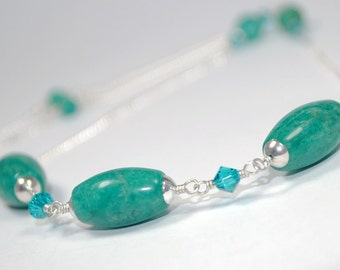Tropical Amazonite Necklace - Sterling Silver Chain with Blue-Green Gemstones and Swarovski Crystals