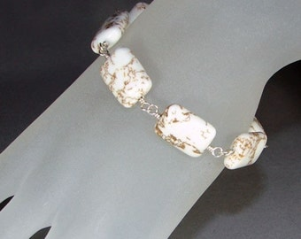 Caramel Rivers Bracelet - Sterling Silver with White Magnesite Gemstones on Wire