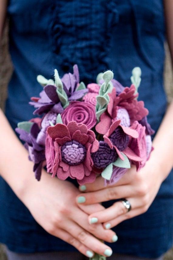 Custom Wedding Wildflower Felt Bouquet - Alternative Wedding Flowers - Purples & Plums -