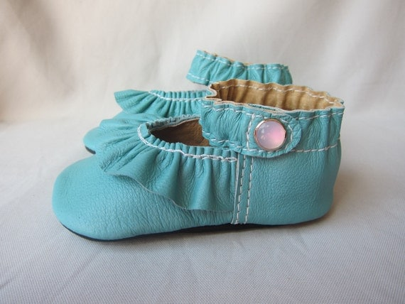 Custom Baby Shoes Ruffled Mary Jane Shoe Turquoise Blue Leather
