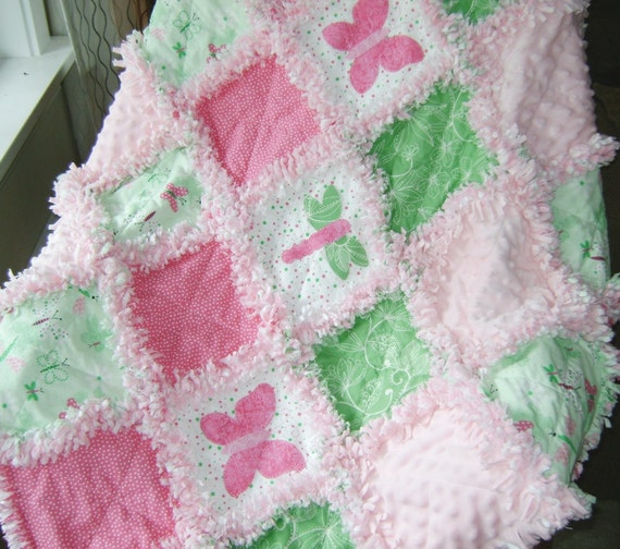 Pre Fringed Cut Baby Girl Rag Quilt Kit Pink And Green