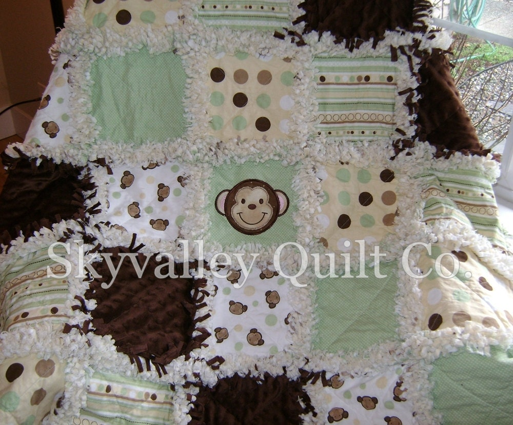 Pre Fringed Cut Rag Quilt Kit Green And Brown Monkey