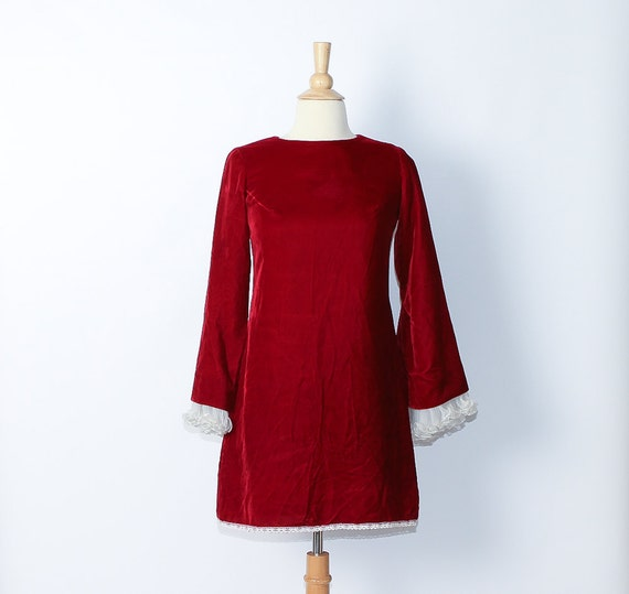 vintage 1960s Red Velvet Dress / sale