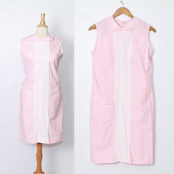vintage 1960s Shift Dress / Pink Gingham / sale