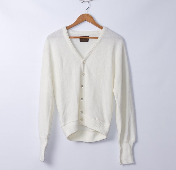 vintage Men's Cardigan Sweater/ 1970s/ white