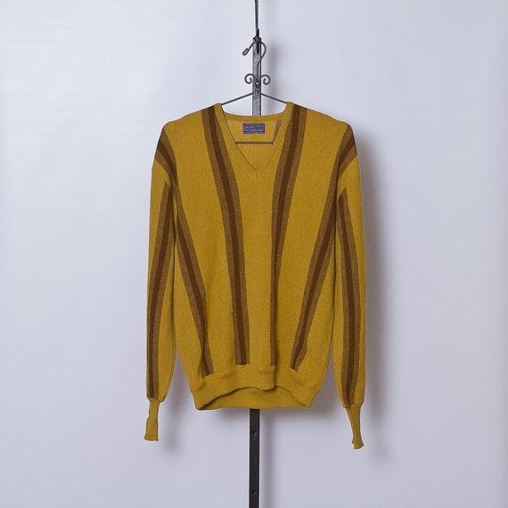 vintage 1960s Pendleton Sweater / Men's Mustard Striped Sweater