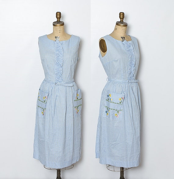vintage 1950s blue and white gingham dress
