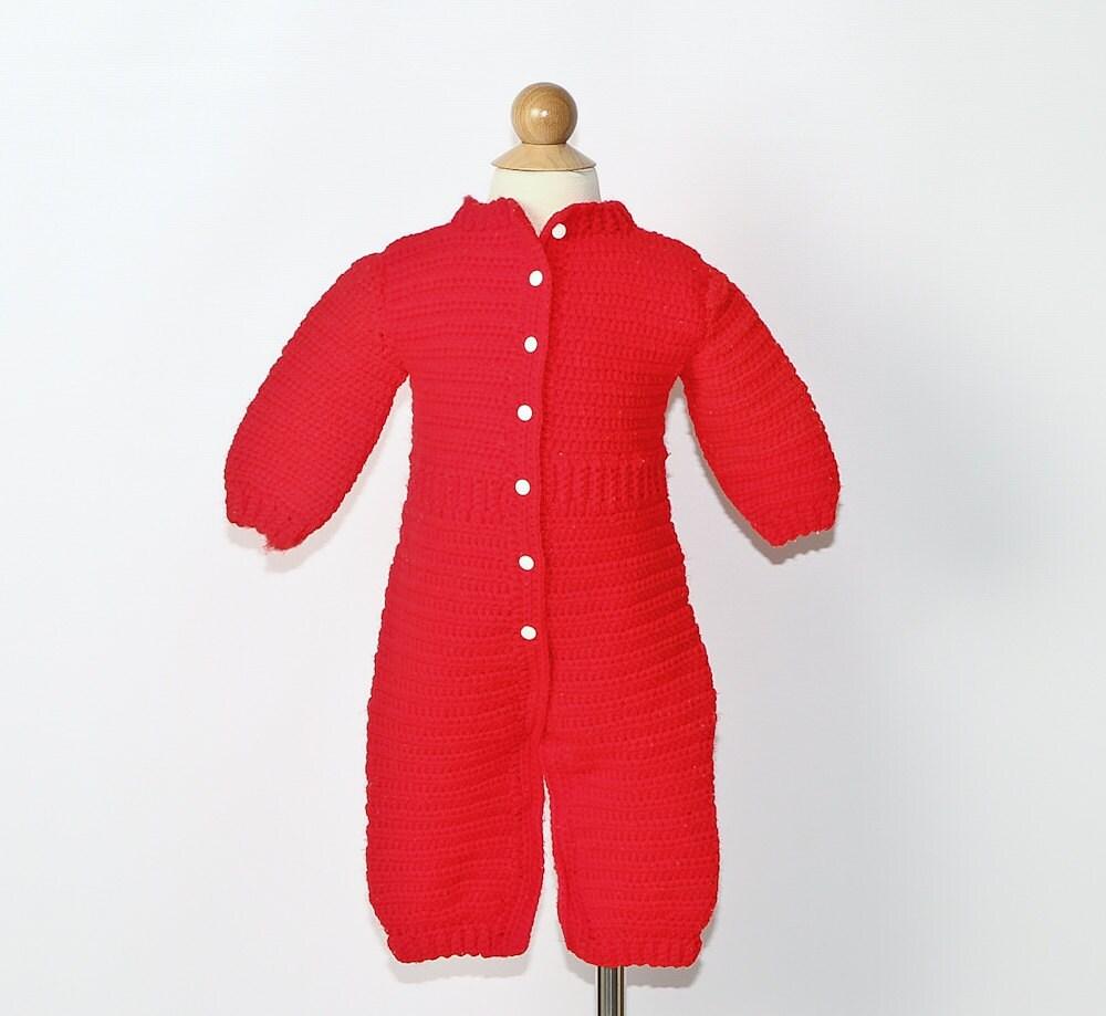 Vintage Drop Seat Baby Pajamas Red Knitted Onesie Sale