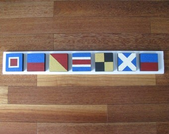 WELCOMEl Nautical Signal Flag  Sign New Smaller Size Coastal Beach Cottage  Made to order