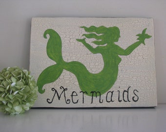 Irish Mermaids  Coastal Sign----------Beach Nautical Cottage