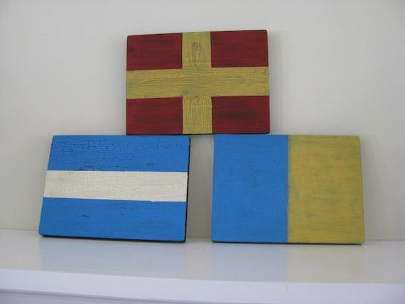 Three----Nautical Signal Flag Signs---Letter Initials -Weddings--Birthdays---Room Decor
