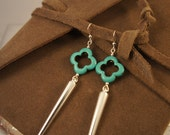 Fancy spike and turquoise earrings