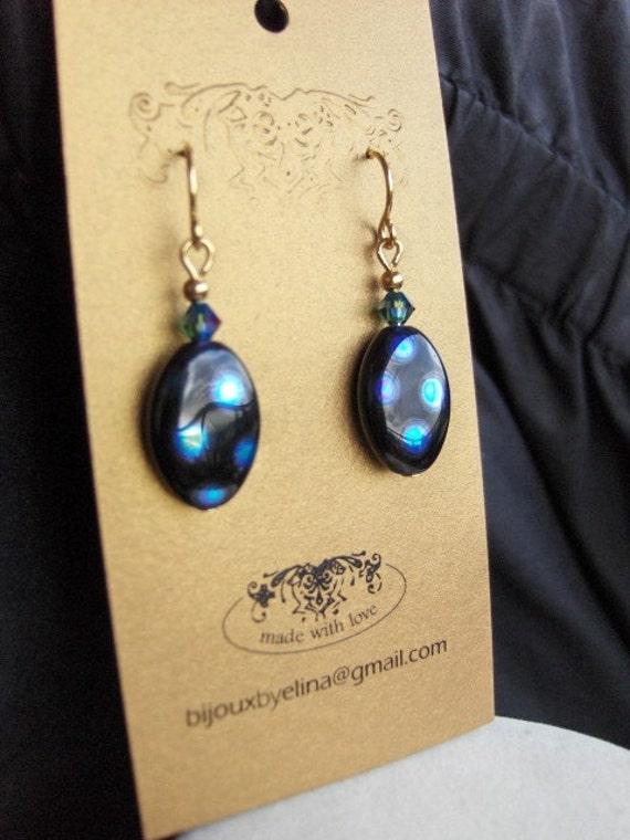 SALE...Beautifull Fused Dichroic Glass Earrings
