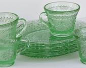 Beautiful Depression Glass in Green