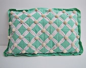 Vintage Seafoam Green Pillow with Poms