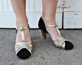 Vintage 1940s Metallic and Black Heels