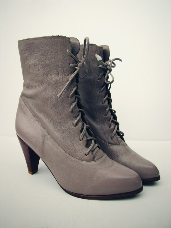 RESERVED for Gwenleif  Gorgeous Scalloped Leather Boots with Stacked Heel