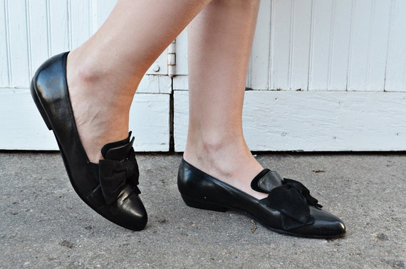 Vintage Black Flats with Bows