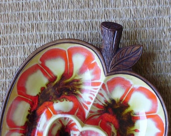 California Pottery Sectioned Apple Dish